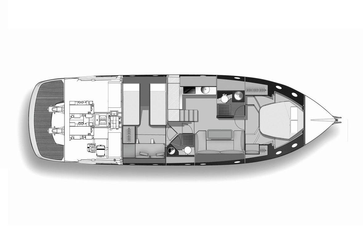Cranchi M 44 PIANTA LOWER DECK