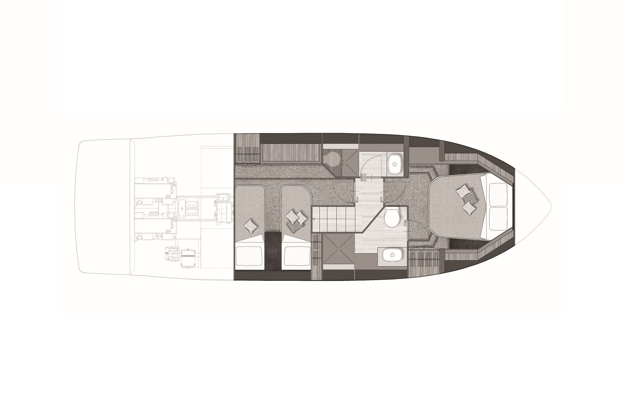 Cranchi T36 LOWER DECK 2 CABINS